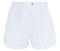 Broderie Anglaise Cotton Shorts Himmelblau