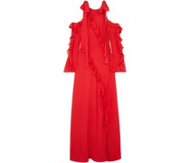 Cold-shoulder Ruffled Silk-georgette Gown