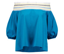 Petra Off-the-shoulder Embroidered Cotton-poplin Top Blau
