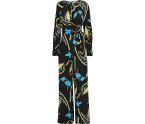 Cutout Floral-print Silk Jumpsuit