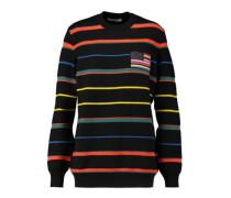 Appliquéd striped wool sweater