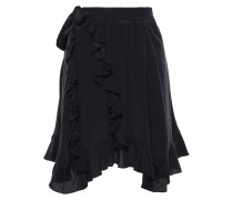 Wispy Asymmetric Ruffled Crepe De Chine Skirt