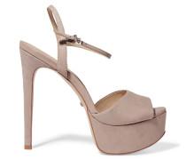 Rebecca Leather Platform Sandals Taupe