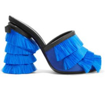 Leather-trimmed fringed-satin mules