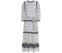 Tiered Ruffle-trimmed Floral-print Crepe Midi Dress