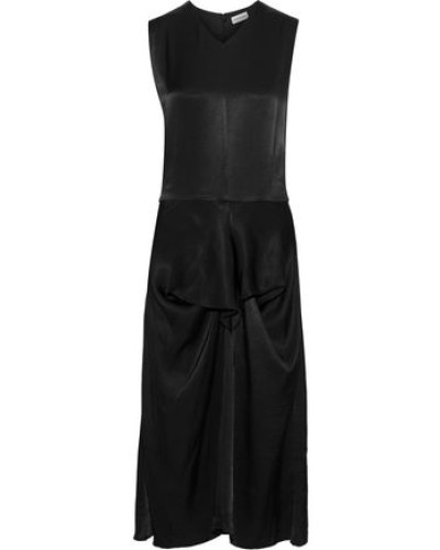 Benignan Draped Satin-twill Midi Dress Black