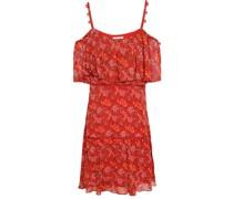 Cold-shoulder Floral-print Georgette Mini Dress