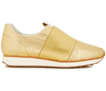 Woman Metallic Leather Slip-on Sneakers Gold