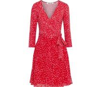 New Irina Floral-print Jersey And Crepe De Chine Mini Wrap Dress