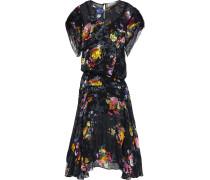 Leonora Asymmetric Floral-print Burnout Silk-blend Midi Dress