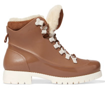 Rubstep Shearling And Rubber Boots Hellbraun
