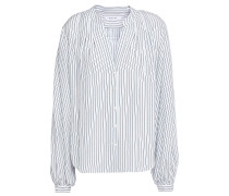 Pleated Striped Silk-satin Blouse