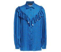 Ruffled Printed Satin Shirt