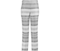 Jacquard Straight-leg Pants Weiß