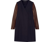 Quennel convertible leather-paneled stretch wool-blend coat