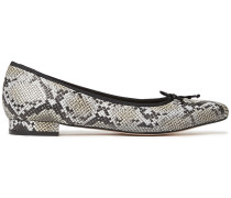 Penelope Bow-embellished Snake-effect Leather Point-toe Flats