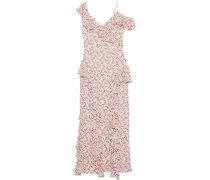 Off-the-shoulder Ruffled Floral-print Crepe Gown