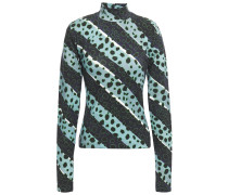Printed Stretch-cotton Jersey Turtleneck Top