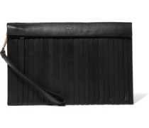 Paneled pleated leather clutch