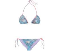 Printed Triangle Bikini Türkis