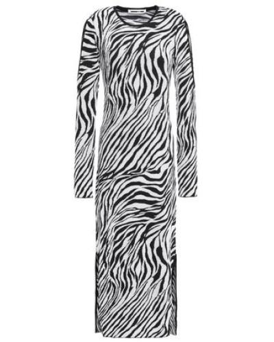 Cutout Zebra-print Jacquard-knit Midi Dress Black