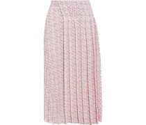 Pleated Printed Textured-crepe Midi Skirt