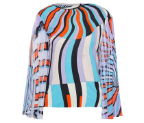 Printed Pleated Georgette-paneled Jersey Top