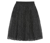 Pleated embroidered organza midi skirt