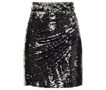 Draped Sequined Tulle Mini Skirt