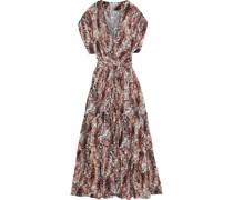 Aria Studded Snake-print Voile Maxi Dress
