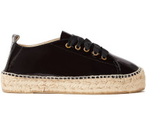 Patent-leather Platform Espadrille Sneakers
