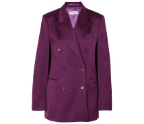 Double-breasted Cotton-blend Charmeuse Blazer