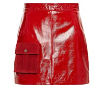 Suede-trimmed Crinkled Glossed-leather Mini Skirt