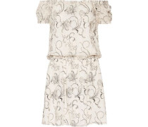 Janell off-the-shoulder embroidered silk-georgette mini dress
