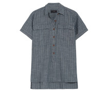 Striped Cotton-chambray Shirt Blau
