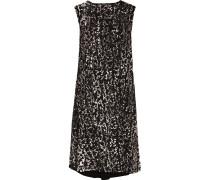 Printed Crepe Mini Dress Schwarz