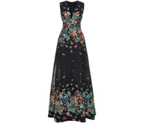 Metallic Floral-jacquard And Organza Gown