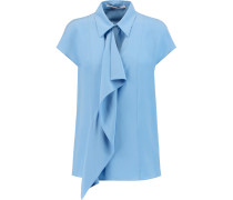 Draped Crepe-silk Top Hellblau