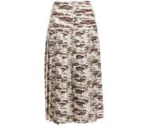 Pleated Printed Silk-twill Midi Skirt