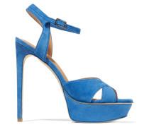 Naomi Suede Platform Sandals Azurblau