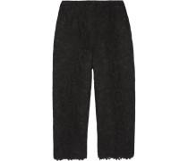 Cropped Lace Pants Schwarz