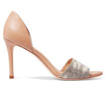 Char Elaphe-paneled Leather Sandals Beige