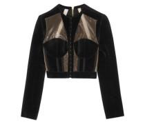 Cropped paneled velvet and mesh jacket