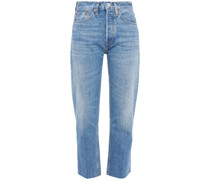 Cropped Faded High-rise Straight-leg Jeans