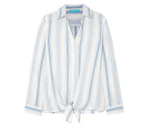 Inny Knotted Striped Cotton-gauze Shirt