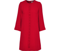 Woman Houston Button-embellished Crepe Mini Dress Brick