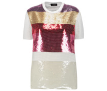 Silk Chiffon-paneled Sequined Cotton T-shirt Mehrfarbig