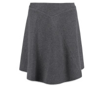 Asymmetric Silk-trimmed Cashmere-felt Skirt Anthrazit