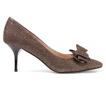 Venice Glitter-finished Textured-leather Pumps Gold