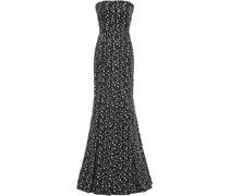 Cold-shoulder Metallic-trimmed Polka-dot Silk-organza Gown